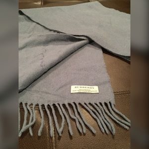 Burberry Accessories - Burberry Blue / Grey Cashmere Scarf GUC