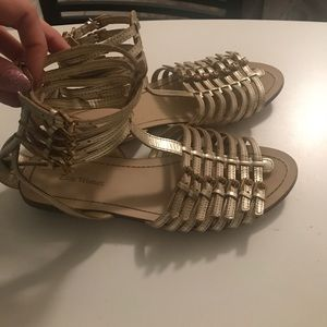 Zara Woman Gold Gladiator Flat Sandal Zip Back, 9