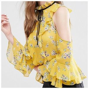 Tops - Yellow Floral Cold Shoulder Ruffle Top D40