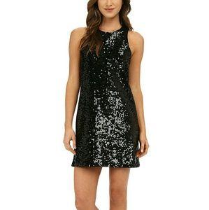 H&M Black Sequin Shift Cocktail Dress Size L