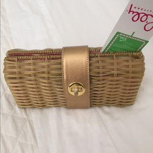 ‼️FINAL‼️PRICE NWT Lilly P gold plastic wicker bag