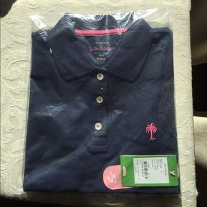 NWT Lilly Pulitzer true navy S island polo pk palm
