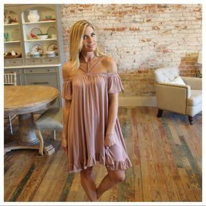 Dresses & Skirts - Rose taupe off shoulder detail strap ruffle dress