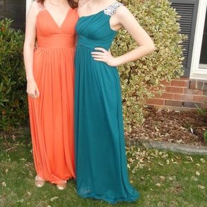 Turquoise One Shoulder Prom Dress