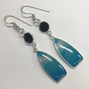 Jewelry - Botswana Agate Black Onyx Earring Sterling Silver