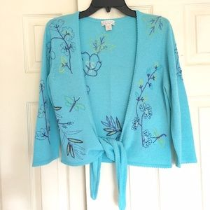 3/4-Sleeve Wrap Tie Cardigan Sweater Embroidered