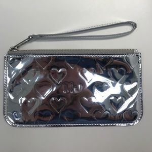 Marc By Marc Jacobs Silver Mirror Heart Wristlet.