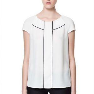 Zara White with Black Piping Top