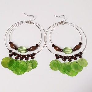 Jesi's Fashionz  Jewelry - Wood & Shell Boho Drop Hoop Earrings