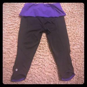 Purple and Black Lululemon Capri's