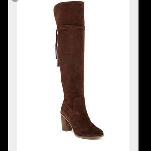 Franco Sarto Shoes - Franco Sarto Ellyn Over the Knee Boots Dark Brown