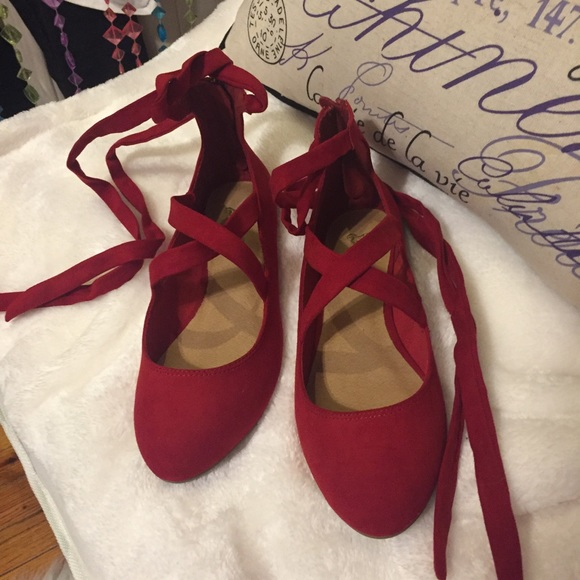 4a020c333b9 Payless Red Lace-Up Flats