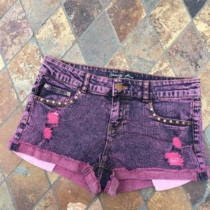 Celebrity Pink Pants - Pink & Dark Blue Denim Shorts