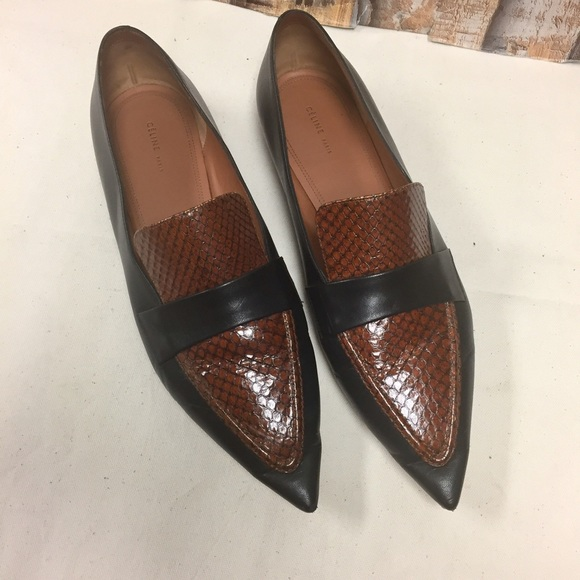 Céline Snakeskin & Leather Pointed Loafers sale purchase RbsMFk