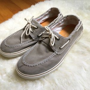 Sperry grey canvas Top-sider boat shoes 9 Halyard