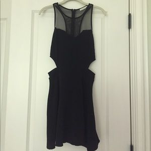 Black flare cutout party dress