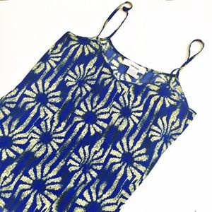 Sans Souci Tops - Sans souci blue and yellow flower tank top