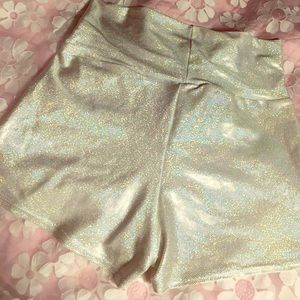 AMERICAN APPAREL HIGH WAIST HOLOGRAPHIC SHORTS
