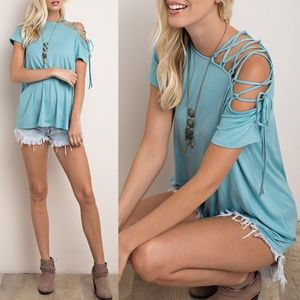 VIENNA lace up cold shoulder top - SEA BLUE