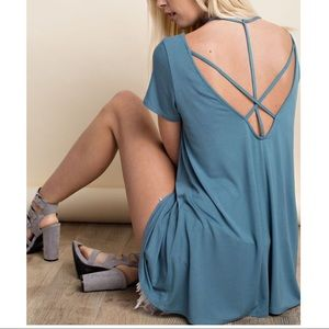 KENDRA Criss Cross Open Back Top - LT. TEAL