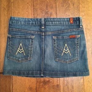 7 For All Mankind Mini Denim Skirt Sz 28