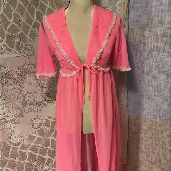 Vintage Intimates & Sleepwear | Sheer Pink Dressing Gown Robe ...