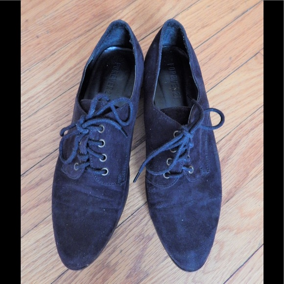 Forever 21 Shoes - Forever 21 Black Suede Pointed Oxford Flats Sz 7