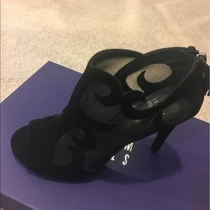 Stuart Weizman black suede/mesh opentoe ankle boot