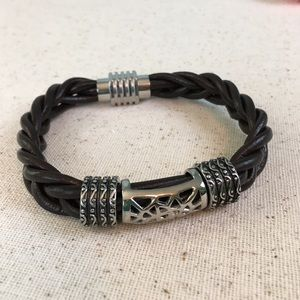 Other - Brown Braided Leather and Stainless Steel Bracelet