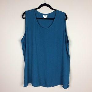 Eileen Fisher Woman teal blue sleeveless top
