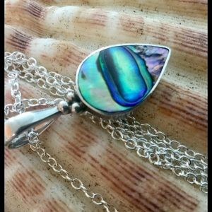 Jewelry - Paua Abalone Mother of Pearl Teardrop Pendant 925