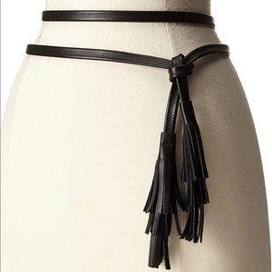 Ada Accessories - Ada Black leather Tassel Belt