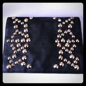 Be & D Handbags - Be & D Nells Black Studded Envelope Clutch