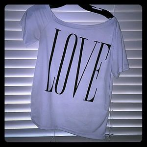 "*White Off the Shoulder ""LOVE"" Tee*"