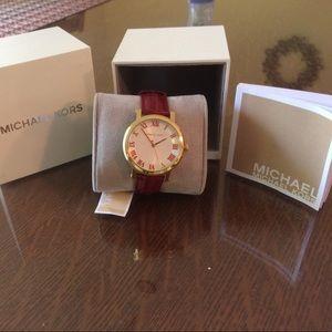 Michael Kors Accessories - 💕 Michael Kors Red Leather Watch NWT/NIB💕