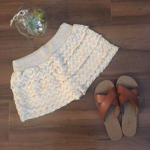 ROMWE Pants - Layered Lace Shorts in Cream, elastic waist