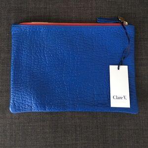 Clare V. by Clare Vivier cobalt blue flat clutch