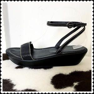Miu Miu Shoes - Miu Miu black leather wedge sandal