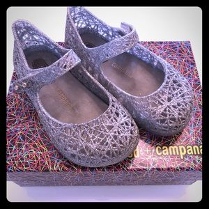 Mini Melissa Silver Glitter Jelly Shoes