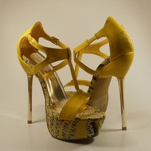 Liliana Shoes - YELLOW T-STRAP HEELS