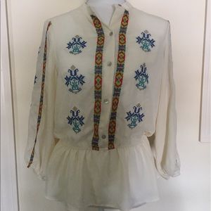 Cream colored Embroidered Blouse