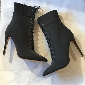 Shoes - Olive Lycra Front Lace Up Heeled Booties