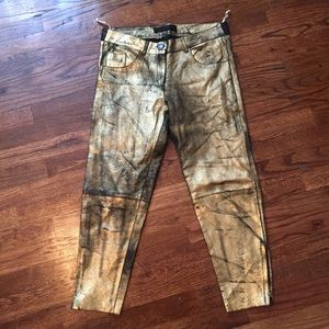 Fear & Loathing Gold Foiled Leather Cropped Pant