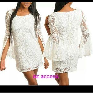08eab2a1f6bb72 Dresses   Skirts - Ivory lace lacey mini dress long angel sleeves