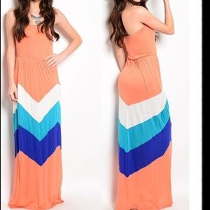 Dresses & Skirts - Chevron maxi dress long strapless sexy summer S-L