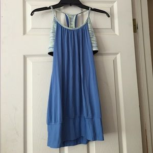Lululemon Blue and Striped No Limits Top