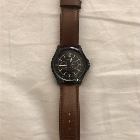ea164e248 Coach Accessories | Mens Black Watch With Brown Leather Band | Poshmark