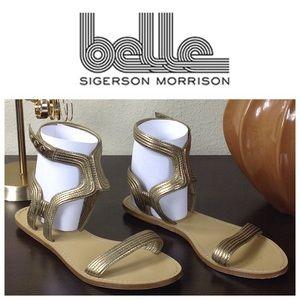 Belle by Sigerson Morrison Shoes - Belle Sigerson Morrison Gold Gladiator Sandals S 9