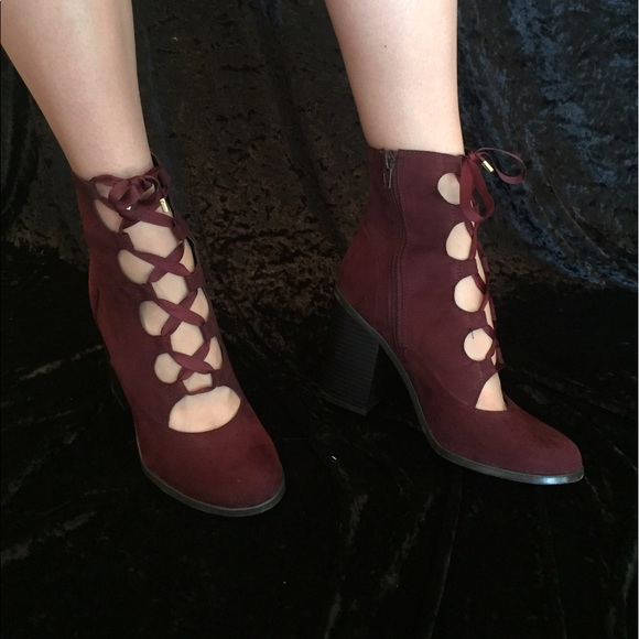 Women s Open Lace Up Bootie Deep Red Wide Heel. M 59330525eaf0309a40030778 a05007dfe0