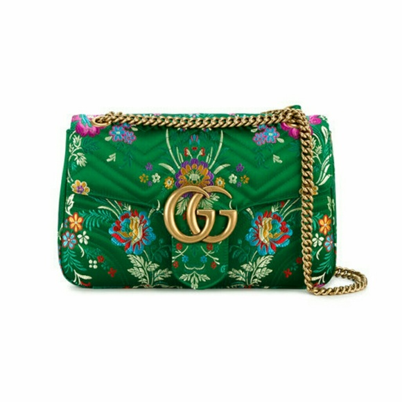 d256f778a322 Gucci Bags | Green Floral Marmont 20 Shoulder Bag | Poshmark